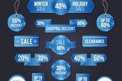 15款蓝色冬季促销标签和banner矢量图