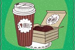 彩绘咖啡和巧克力饼干矢量素材