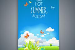 创意夏季风景假期传单矢量优发娱乐