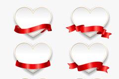 6款红色丝带空白爱心卡片矢量图