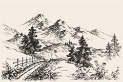 手绘山地景观素描矢量优发娱乐