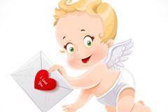 卡通拿情书的天使矢量素材