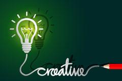 创意思维灯泡和铅笔矢量素材
