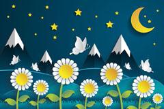 夜晚菊花丛和雪山剪贴画矢量优发娱乐