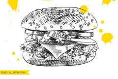 手绘快餐汉堡包矢量素材