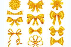 15款金色丝带蝴蝶结矢量素材
