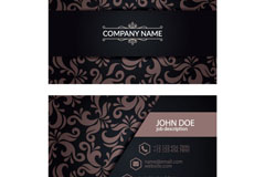 创意花纹黑色商务名片矢量素材