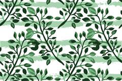 水彩绘绿色树枝无缝背景矢量素材