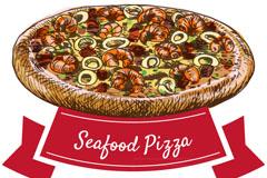 彩绘美味海鲜披萨矢量素材