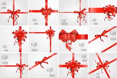 16款红色丝带蝴蝶结装饰礼物卡片矢量图
