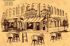 复古手绘室外咖啡馆矢量优发娱乐