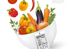 健康饮食所需的新鲜蔬菜矢量素材