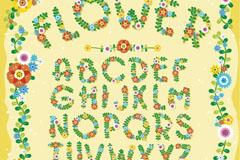 26个彩色花卉植物字母矢量素材