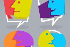 4款抽象人脸语言气泡矢量图