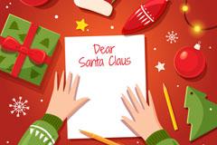 写给圣诞老人的信桌面俯视图矢量