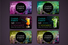 4款彩色鸡尾酒派对卡片正反面矢量图