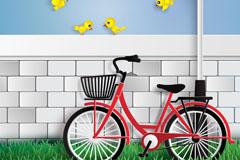 停在墙边的单车和黄色小鸟矢量梦之城娱乐