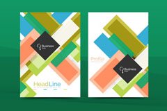 彩色长方形装饰商务宣传单矢量素材