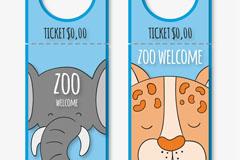 2款可爱彩绘动物园门票矢量素材