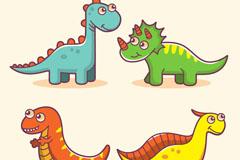 4款卡通大眼睛恐龙矢量图