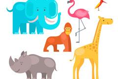 6种彩色野生动物矢量素材