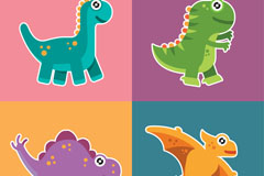 4款卡通恐龙贴纸矢量素材