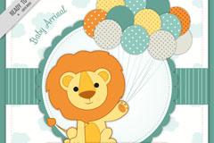 可爱狮子拿着气球迎婴派对卡片矢