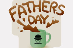 创意咖啡杯父亲节艺术字贺卡矢量素材
