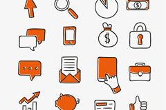 16款橙色手绘商务图标矢量素材
