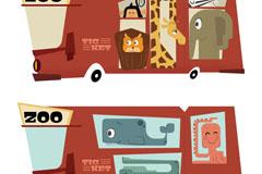 2款创意动物园运输车门票矢量素材