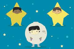 3款穿星星月亮装的儿童矢量图
