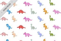 彩色小恐龙无缝背景矢量素材