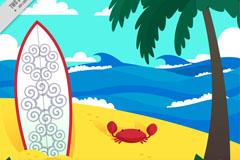 创意沙滩冲浪板和螃蟹插画矢量素材