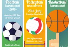 足球排球篮球运动宣传banner矢量素材