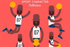 5款黑人篮球运动员矢量素材
