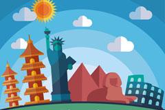 5个扁平化世界著名地标插画矢量
