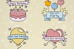 4款彩绘生日快乐标签矢量梦之城娱乐