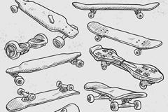 10款手绘滑板设计矢量素材