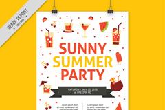 彩色阳光夏季派对海报矢量素材