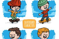 4款彩绘玩滑板的儿童矢量素材