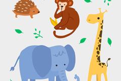 4款刺猬猴子长颈鹿大象可爱野生动物矢量素材