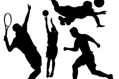 4款球类动感运动人物剪影矢量素材