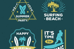 4款复古夏季冲浪标志矢量图
