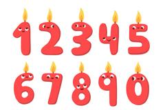3款卡通生日蛋糕和10款数字蜡烛矢量图