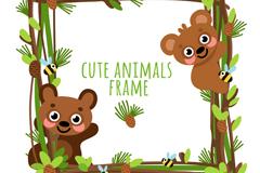 可爱熊框架设计矢量素材
