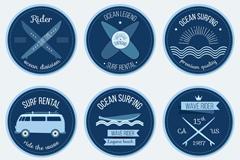 6款蓝色冲浪运动徽章矢量素材