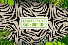 创意斑马纹和棕榈树叶背景矢量图