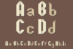 26个白色折纸字母大小写矢量图