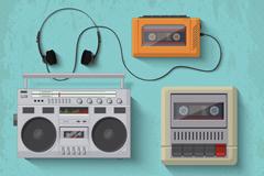 5款老式音乐播放器矢量图