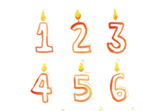 10个彩绘蜡烛数字矢量素材